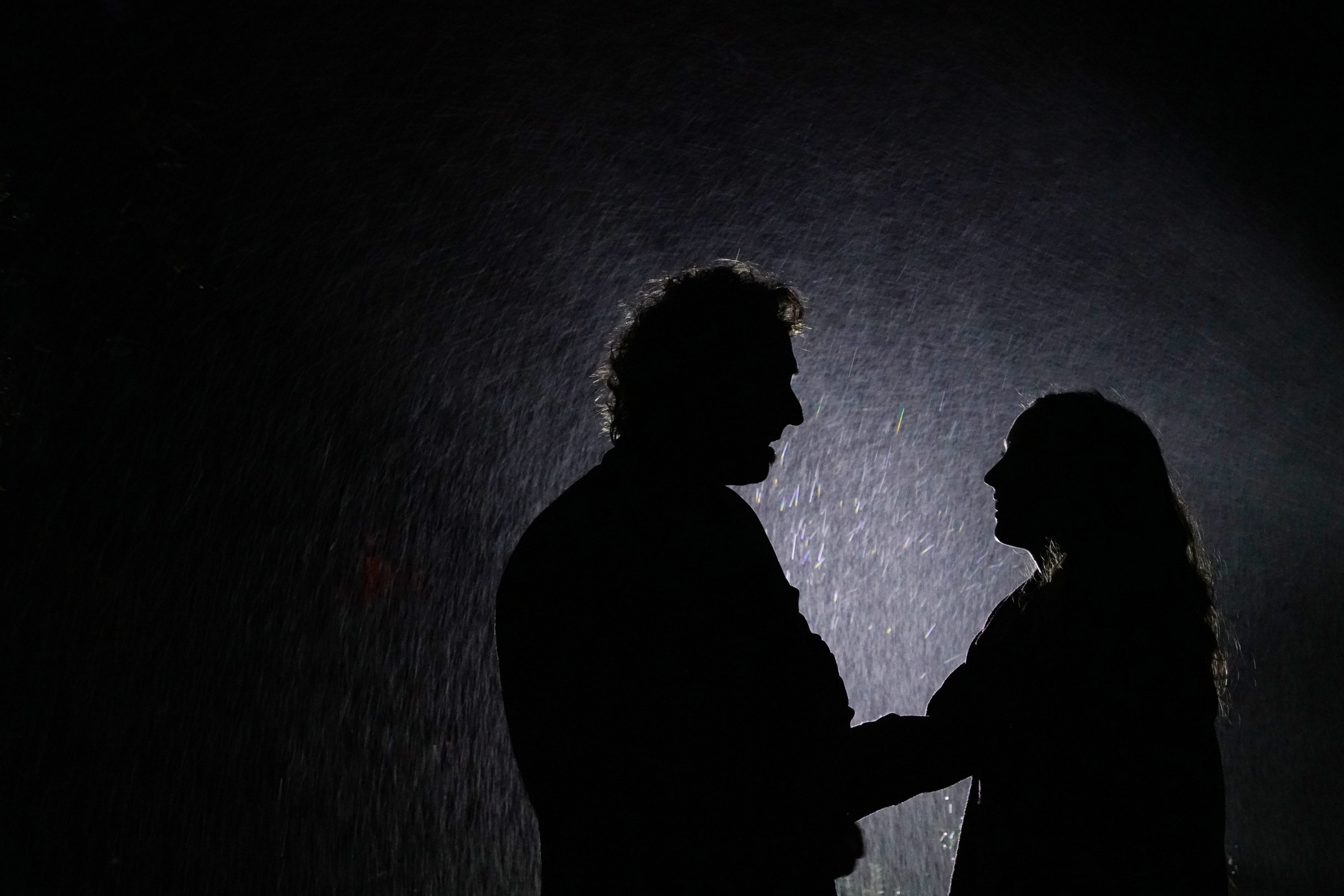 Father and Daughter posing in night