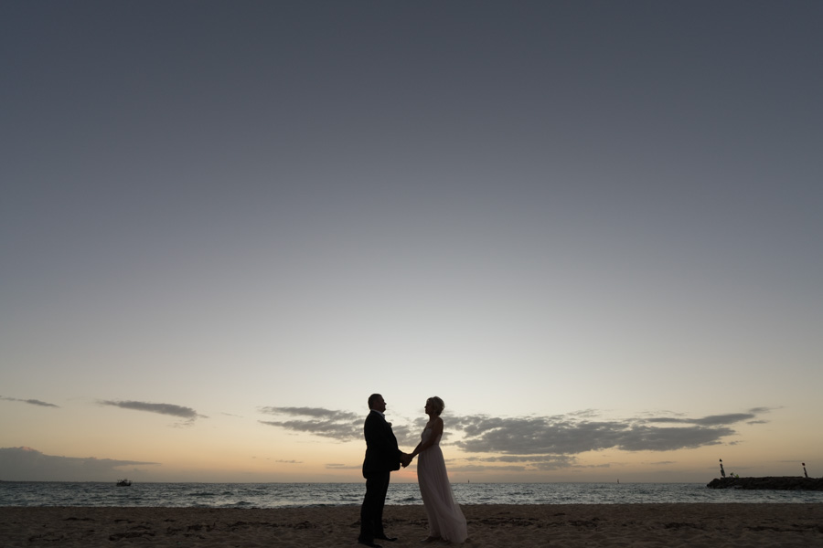 Just married at sunset at Safety beach, Vic