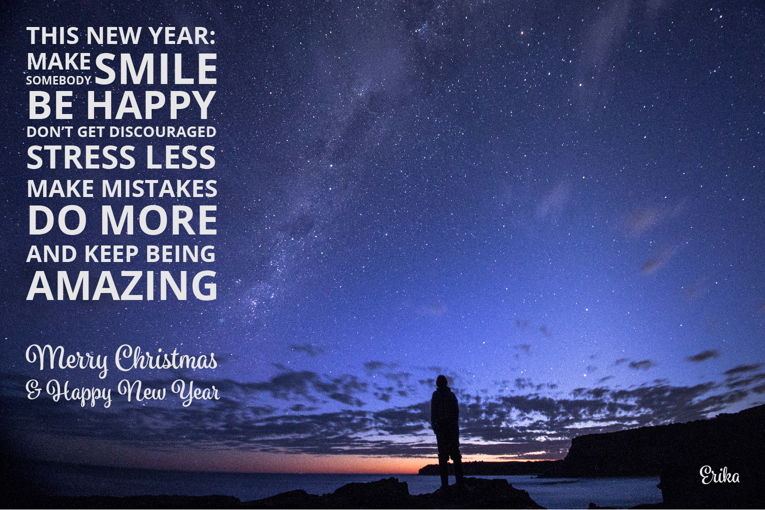 Merry Christmas and Happy New Year Card with special quote