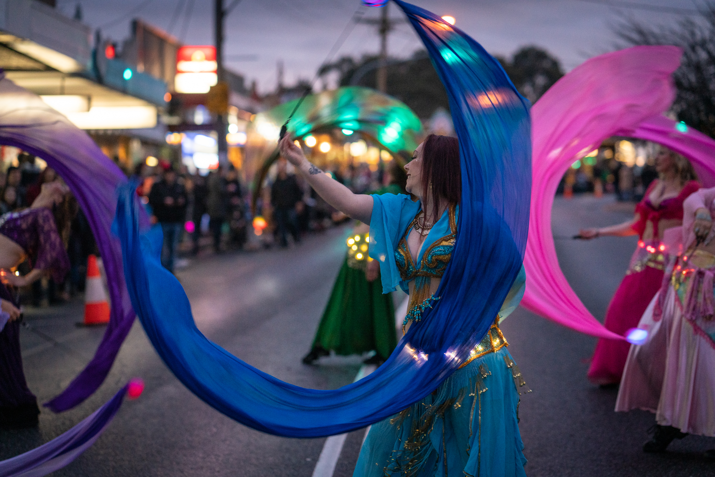 Belly Dancing at the Lantern Parade for the Winter Solstice celebration in Belgrave, Vic