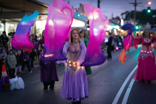 Winter Solstice Celebration with Belly Dancers along the streets in Belgrave