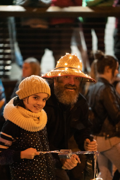 Father and daughter at the Lantern Parade in Belgrave