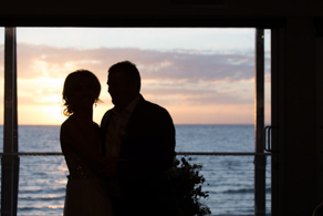 Bride and Groom getting married at Sunset at Safety Beach Sailing Club in Mornington Peninsula ©Erika's Way