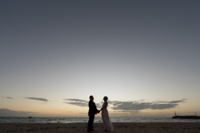 Bride and Groom at sunset at Safety Beach in Mornington Peninsula