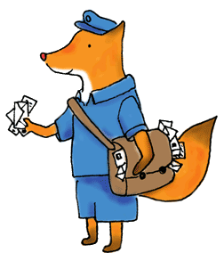 A little fox postie from a fairy-tale world. Illustration by Erika's Way design