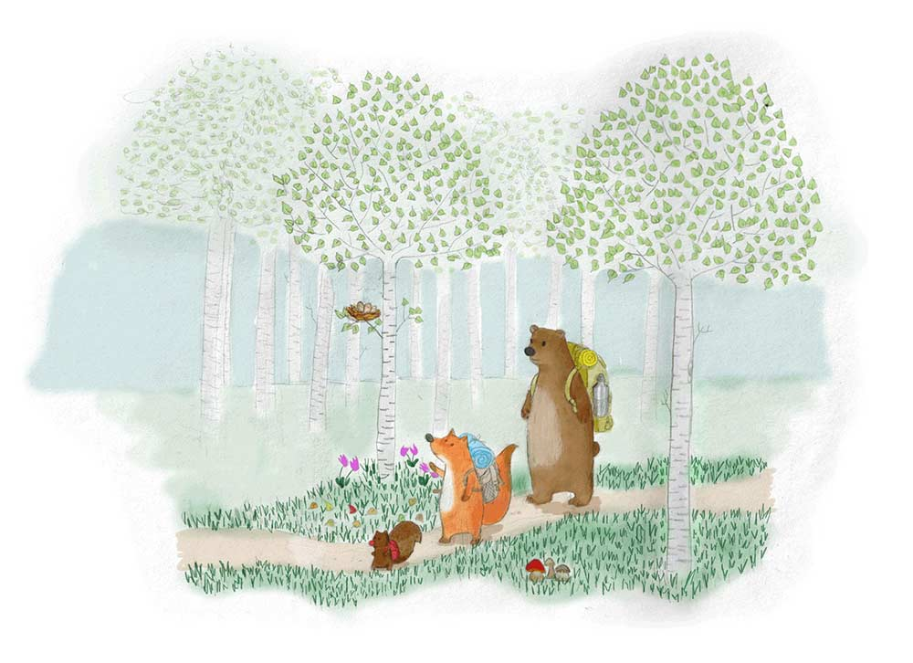 Illustration of a fox, a squirrel and a bear hiking in a berch forest