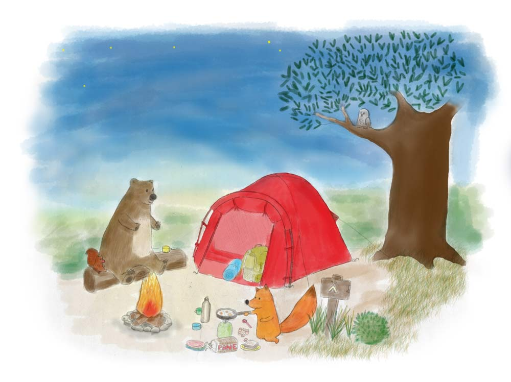 Illustration of a fox, a squirrel and a bear camping and having dinenr around the fire