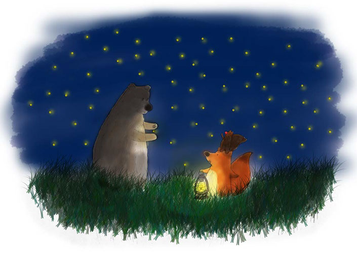 Illustration of a fox, a squirrel and a bear at night surrounded by fireflies