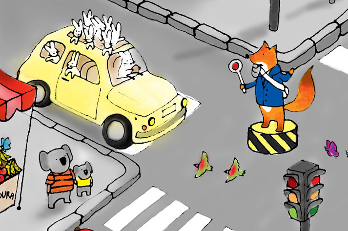Illustration of a police-fox managing the traffic