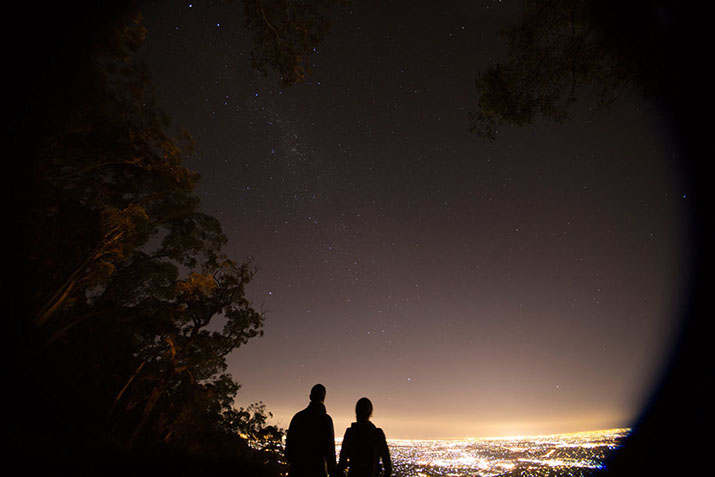 Clear starry night over Melbourne from Mt Dandenong view point. © Erika's Way Photography