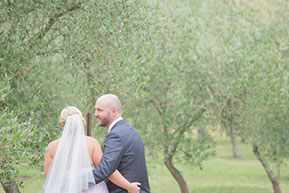 Husband and Wife and the olive grove © Erika's Way Wedding Photography in Melbourne and the Dandenong Ranges. Natural light, nature and love.