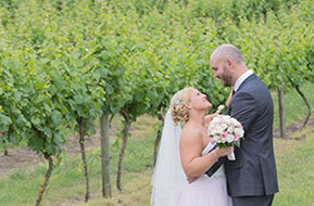 Wedding couple in the vineyard. Winery Wedding Photography © Erika's Way Photography
