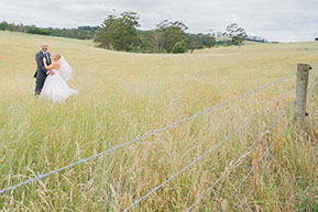 Husband and Wife in the yellow field © Erika's Way Wedding Photography in Melbourne