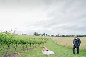 Husband and Wife. Vines and sky. © Erika's Way Wedding Photography in Melbourne and Dandenong Ranges