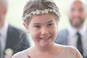 Girl with a beautiful flower crown at the Wedding © Erika's Way Photography