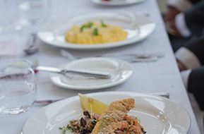 The wedding meal: first course. Wild Dog Winery © Erika's Way Photography