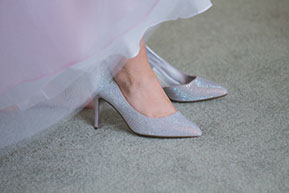 The Wedding shoes. Silver and sparklnig wedding shoes with light pink tulle dress. Just magic. © Erika's Way Photography
