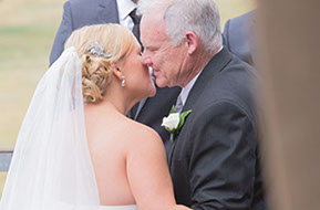 Dad kissing the Bride just before the Ceremony starts. © Erika's Way Photography
