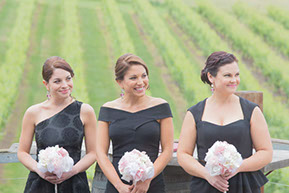 The braidsmaids and the vineyard. Black bridesmaids dress all different, yet perfectly matching. © Erika's Way Photography