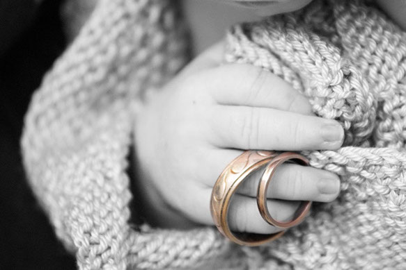 New-born photography in the Dandenong Ranges, Vic. New born and the wedding rings. © Erika's Way Photography
