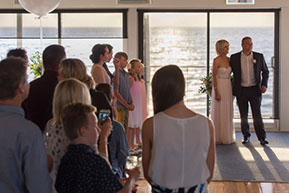 wedding ceremony by the sea at sunset at Safety Beach, Mornington Peninsula, Vic. © Erika's Way Photography
