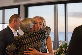 Th ebride hugging her mother-in-law at Safety Beach, Mornington Peninsula, Vic. © Erika's Way Photography