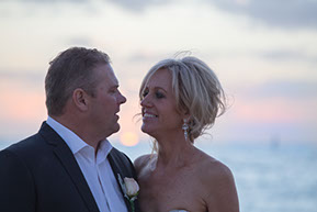 as the sun is setting. Husband and Wife. Wedding at Safety Beach, Mornington Peninsula, Vic. © Erika's Way Photography