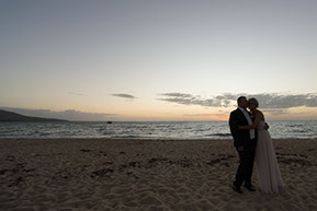 Husband and wife in the last lights of the day at Safety Beach, Mornington Peninsula, Vic. © Erika's Way Photography