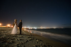Husband and Wife under the stars at the beach at Safety Beach, Mornington Peninsula, Vic. © Erika's Way Photography