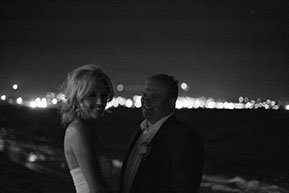Wedding Night time photography at the beach. Black and white photo at Safety Beach, Mornington Peninsula, Vic. © Erika's Way Photography