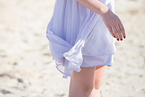 Light mauve dress in the wind at Safety Beach, Mornington Peninsula, Vic.© Erika's Way Photography
