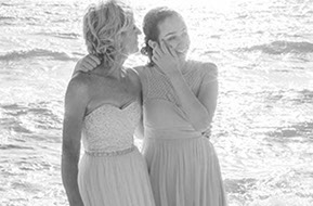 Bride and teenage daugther just before the wedding at Safety Beach, Mornington Peninsula, Vic. © Erika's Way Photography