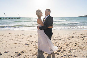 Bride and Groom just before the wedding at Safety Beach, Vic © Erika's Way Photography