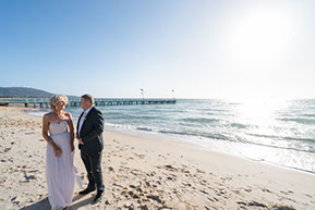 Wedding at the beach at Safety Beach, Mornington Peninsula, Vic. The Bride and the Groom at the beach. © Erika's Way Photography